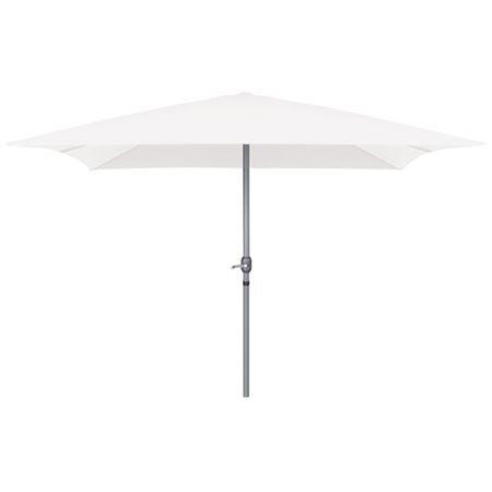 Alu Sonnenschirm rechteckig 3x2m Weiss ♥ Sonnenschirm 2x3m ♥ Schirm mit 6 Rippen ♥ integriertes Seilsystem mit Handkurbel