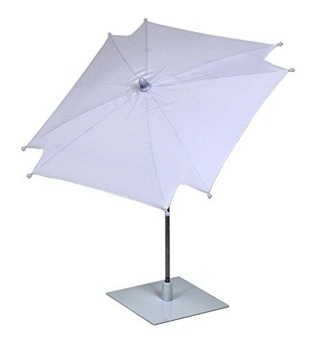 Tisch Sonnenschirm in weiß mit ultra flachem Metallständer / Neigbar 50x47x47 cm ♥ Sonnenschirm Weiß ♥ 1 x Tisch Sonnenschirm