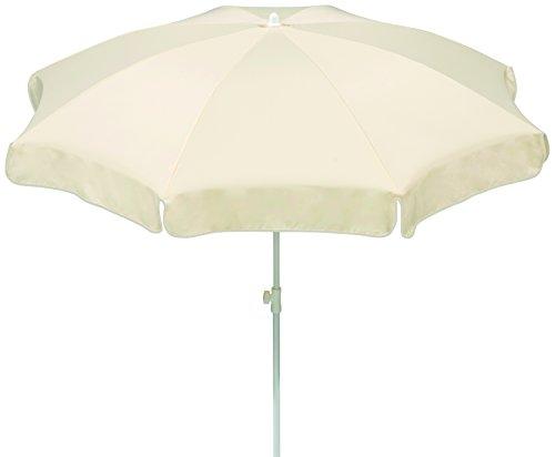 Schneider Sonnenschirm Ibiza, natur, 200 cm rund, Gestell Stahl, Bespannung Polyester, 2.1 kg ♥ Sonnenschirm Weiß 200 cm ♥ 1 x Schieber ♥ 1 x Metallknicker