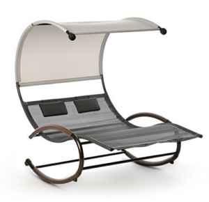 Design Schaukelliege Sonnenliege Lounge Doppelliege ♥ Sonneninsel ♥ Sonneninsel ♥ Die Lounge-Schaukelliege besteht aus einem braunen, äußerst stabilen und pulverbeschichteten Stahlrohrrahmen