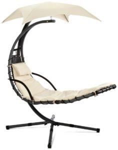 Leco Schwingliege Stahlrohr, inklusiv Sonnenschirm und Polsterauflage ♥ Schwingliege Garten