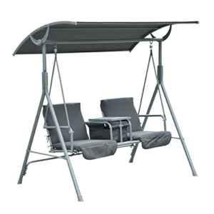 Outsunny Hollywoodschaukel  2-Sitzer ♥ Schaukelbank  ♥ Neigungsverstellbares Dach aus wasserabweisendem Polyester