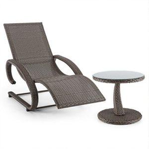 blumfeldt Daybreak Schwingliege Gartenliege und+ Beistell-Tisch Set ♥ Freischwinger mit Armauflagen