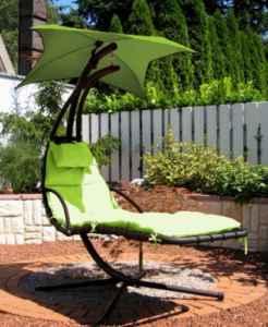Leco Schwingliege, grün ♥ Leco Schwingliege ♥ Polsterauflage und Sonnensegel: 100 % Polyester (ca. 180 g/qm) in der Farbe grün. Polsterauflage mit Vliesfüllung und Steppnähten