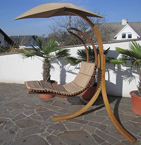 DESIGN Hängesessel NAVASSA mit Gestell aus Holz Lärche komplett mit Hängeliege und Dach von AS-S ♥ Design Schwebeliege für unvergleichlichen Liegekomfort