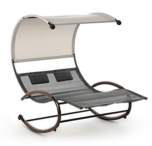 Design Schaukelliege Sonnenliege Lounge Doppelliege für Garten ♥ Sonneninsel ♥ Sonneninsel ♥ Die Lounge-Schaukelliege besteht aus einem braunen, äußerst stabilen und pulverbeschichteten Stahlrohrrahmen