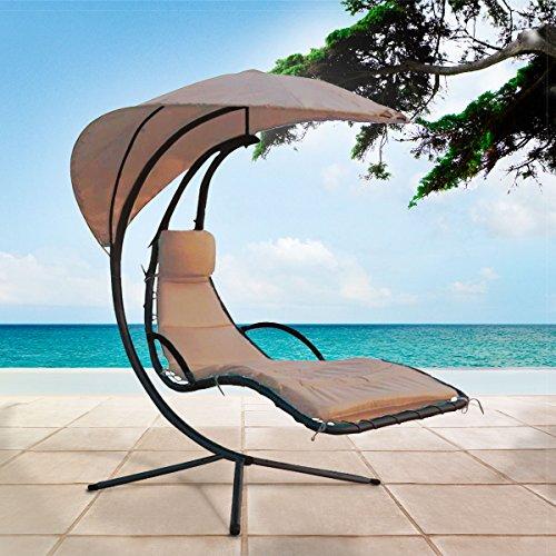 Schwebeliege Schwingliege Hollywood Schaukel ♥ Designer Schwebeliege ♥ inkl. Sonnenschirm Dach und Polsterauflage