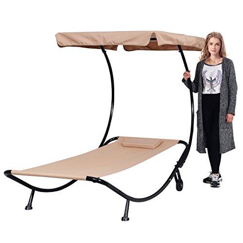 Single Sonnenliege mit Sonnendach Lounge Outdoor ♥ Gartenmöbel mit Sonnendach ♥ Mit Rollen kann man einfach die Liege bewegen